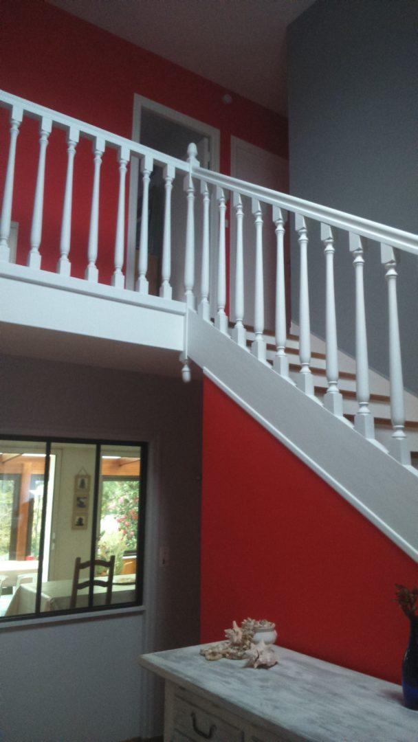 Plomelin cage descalier laque blanche et bois verni 4 - Peinture décoration