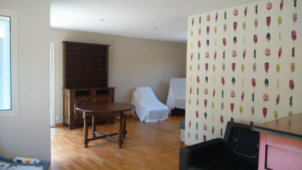 Quimper salle decoration papier peint fleurs de carotte 3 - Décoration papier peint